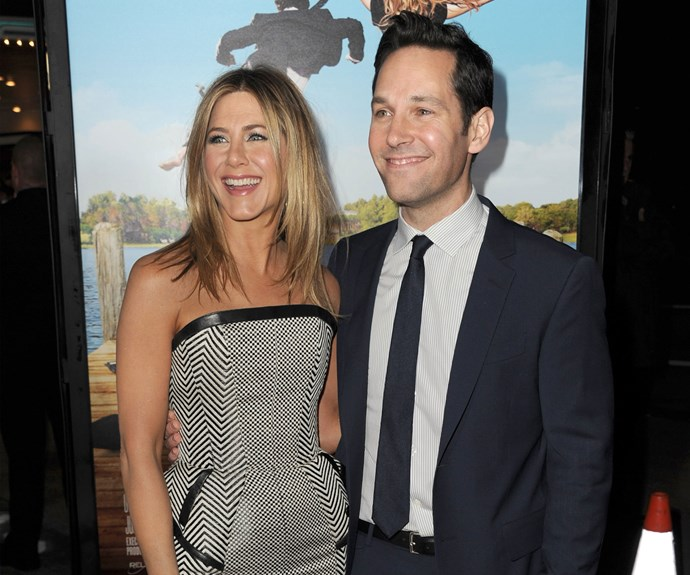 Paul Rudd and Jennifer Aniston were rumoured to have struck up a romance after starring together in the 1998 film *The Object Of My Affection*. While the two have never publicly confirmed if a relationship did happen, they've since co-starred together in one more film (*Wanderlust*), and Paul also made a cameo on *Friends*.
