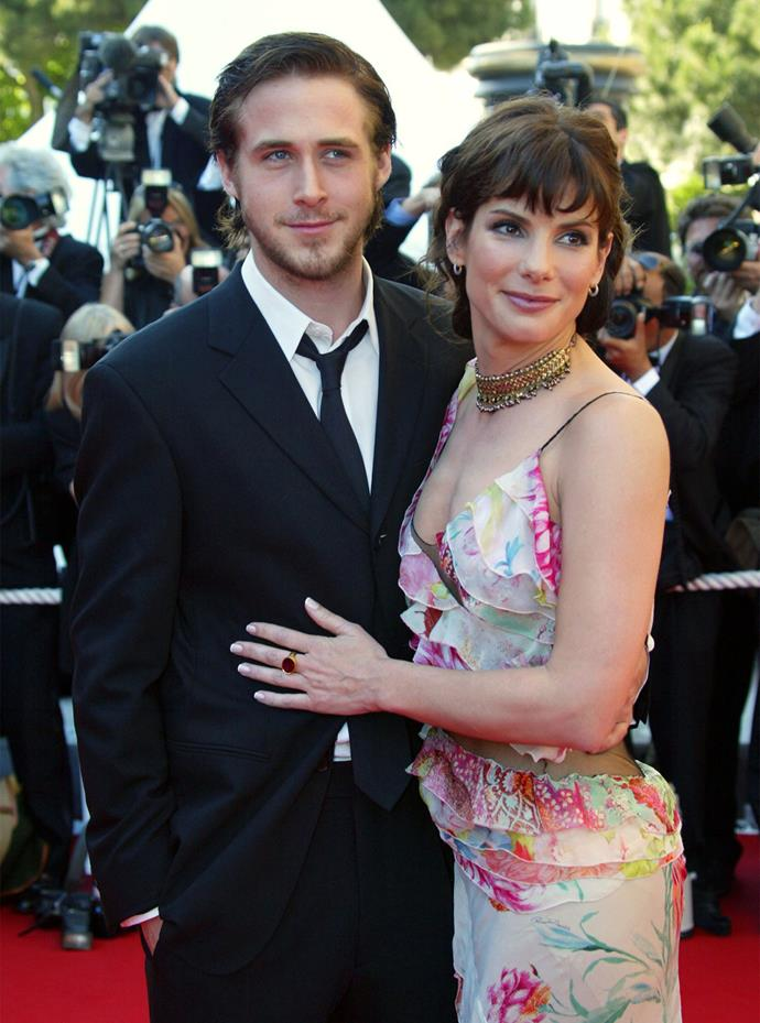 "Before he famously dated his *The Notebook* co-star Rachel McAdams, Ryan Gosling was romancing Sandra Bullock. The two met on the set of their 2002 film *Murder By Numbers*, and while their romance didn't last, Ryan later called Sandra and Rachel ""two of the greatest girlfriends of all time"". Aww!"