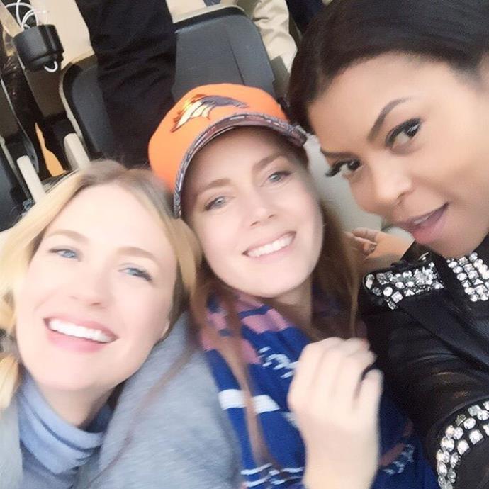 Actresses January Jones, Amy Adams and Taraji P. Henson enjoyed a girls' day out at the Super Bowl.