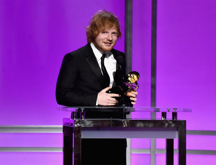 First-time winner Ed Sheeran was absolutely chuffed to take home the Grammy for Best Pop Solo Performance for 'Thinking Out Loud'. In his acceptance speech, the talented Brit joked that his family were finally able to see him win after years of watching him go home empty-handed.