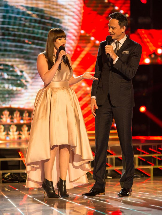 Sharyn with co-host Dominic Bowden on *Dancing With The Stars* last year. Photo: Supplied