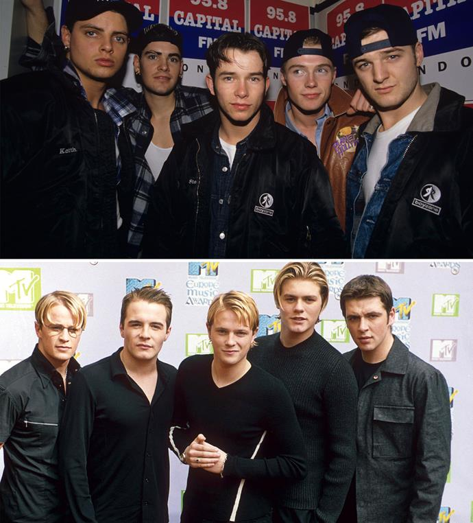 Boyzone (top) and Westlife were two of the biggest boy bands to come out of the UK.