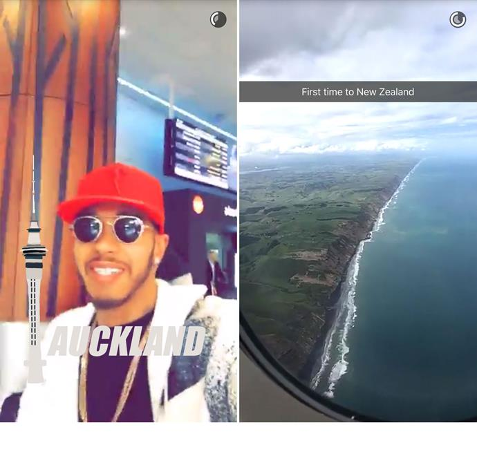 Lewis shared these clips from his arrival into New Zealand on Snapchat.