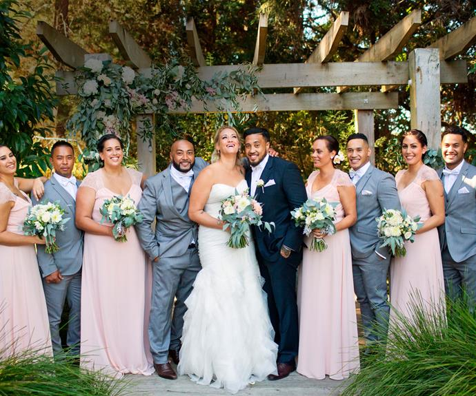 The happy couple and their bridal party (from left): Jessica, Carlos, Amy, Ray, Celia, Fou, Natalie and Joseph.