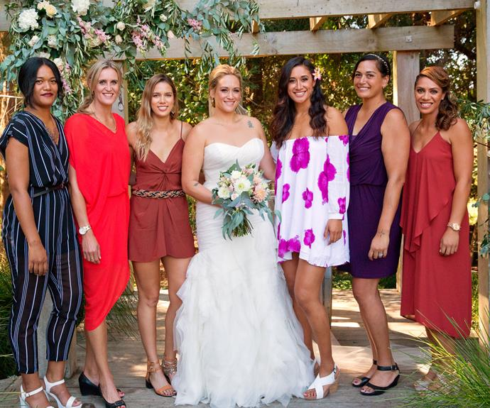 Leggy line-up! The beautiful bride joins her netball buddies (from left) Temalisi Fakahokotau, Leana, Kayla, Maria, Monica Gabriel and Grace.