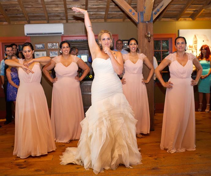Signed and sealed! Proving practice makes perfect, the bride and bridesmaids ace the win.