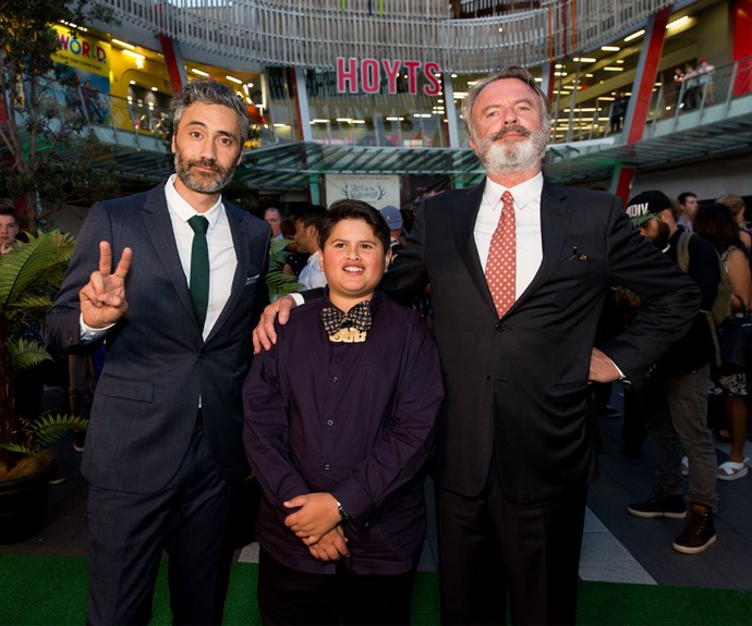 Taika with his *Hunt for the Wilderpeople* stars Julian Dennison and Sam Neill at the Auckland premiere last year. Photo: Carmen Bird