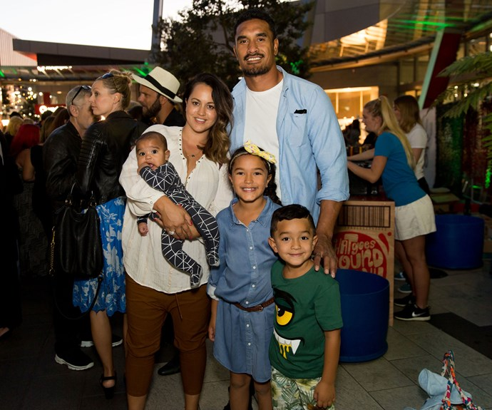 Jerome Kaino with his family - wife Di, baby Grayson, daughter Milan and son Kobe. Photo: Carmen Bird