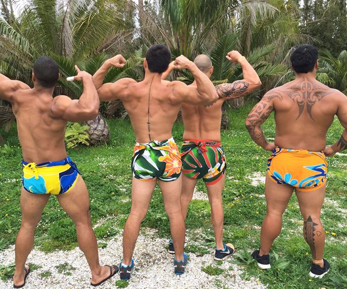 Buns of steel! But watch your backs, boys– you could be target practice.