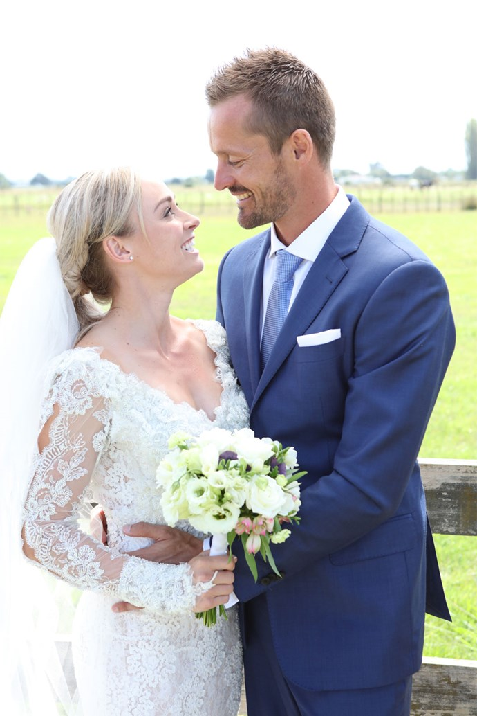 The couple wed in the picturesque surrounds of the Punt family farm in Nelson, with the reception just a leisurely half-paddock stroll away from the ceremony.