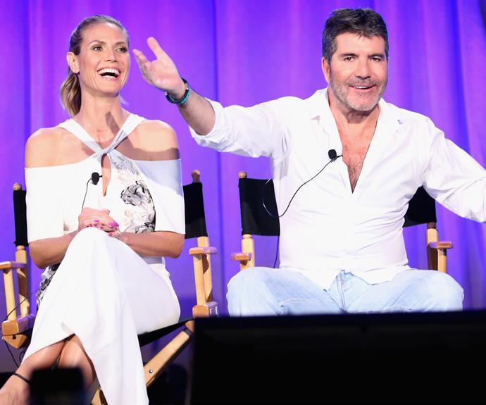 Heidi Klum and Simon Cowell go all white at America's Got Talent event. Photo: Getty