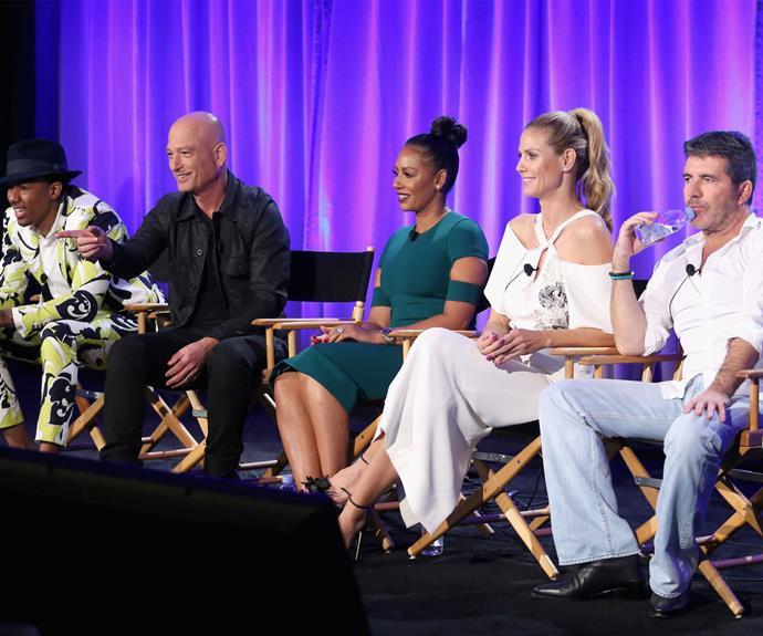 Nick Cannon, Howie Mandel, Mel B, Heidi Klum and Simon Cowell attend America's Got Talent event in LA. Photo: Getty