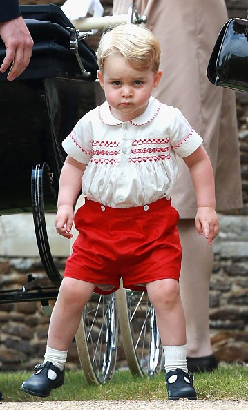 At his sister Princess Charlotte's christening, the youngster's red and white outfit was a near-identical replica of what his own father wore as a child in 1984, on the way to the hospital to meet his newborn brother Harry.