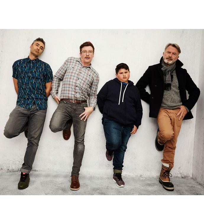L-R: Taika Waititi, Rhys Darby, Julian and Sam Neill