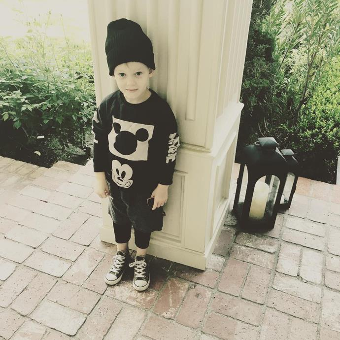 Hilary Duff's son Luca is super cute in his beanie, Converse shoes and black-and-white Mickey gear!