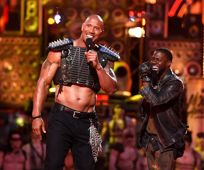 Dwayne 'The Rock' Johnson and Kevin Hart were co-hosts for the night, taking to the stage for an explosive opening number (literally) inspired by *Mad Max: Fury Road*.