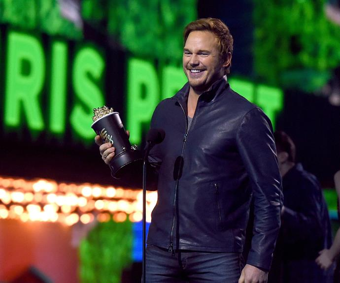 Chris Pratt accepts the award for Best Action Performance for his role in *Jurassic World*.