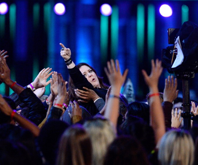 Melissa McCarthy crowd-surfed her way towards the stage to accept the Comedic Genius award.