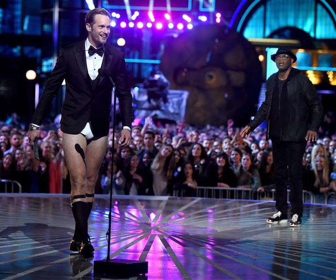 *Tarzan* star Alexander Skarsgard made the bold choice of going pants-less on stage as he presented an award with Samuel L. Jackson.