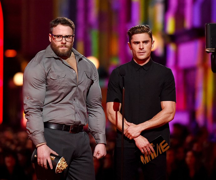 A (seemingly) newly buff Seth Rogen presented the award for Best Comedic Performance with his *Neighbours 2* co-star Zac Efron.