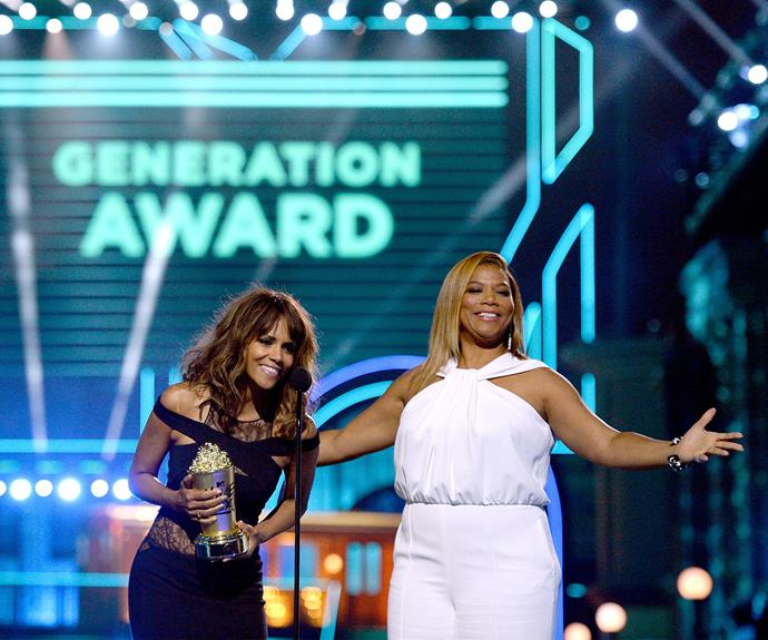 Halle Berry and Queen Latifah present Will Smith with the Generation Award.