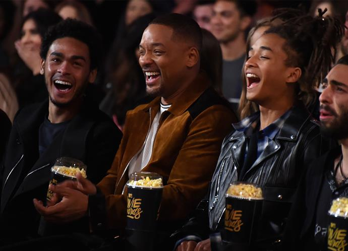 Will Smith - who won the MTV Generation Award - has a laugh with sons Trey and Jaden in the audience.
