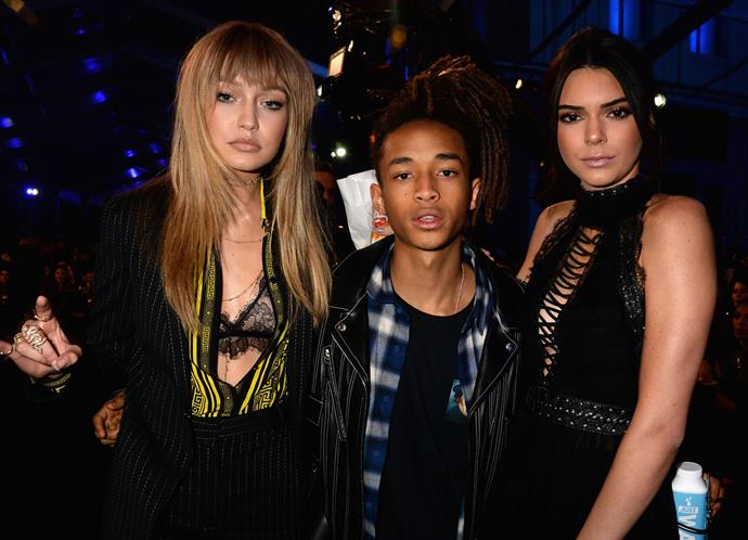 Kendall Jenner poses with her BFF Gigi Hadid (who spilled all the details on that loved-up photo shoot with Zayn Malik) and Jaden Smith.
