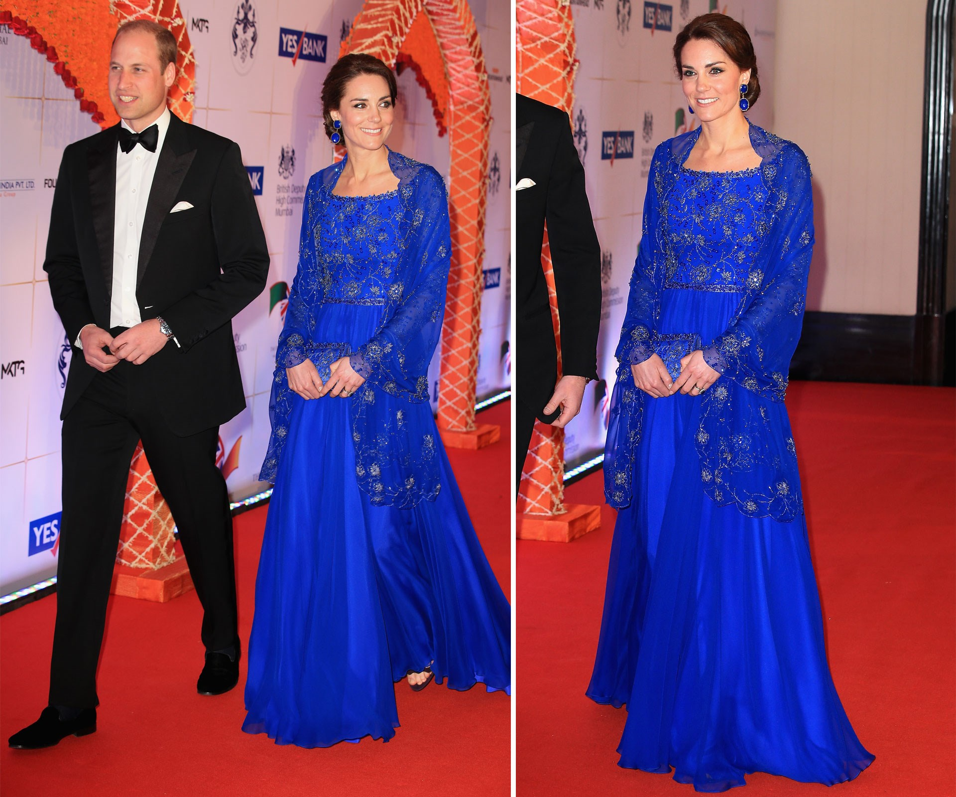 Kate dons a stunning blue gown as she attends a reception at the Taj Mahal Palace Hotel with her husband.