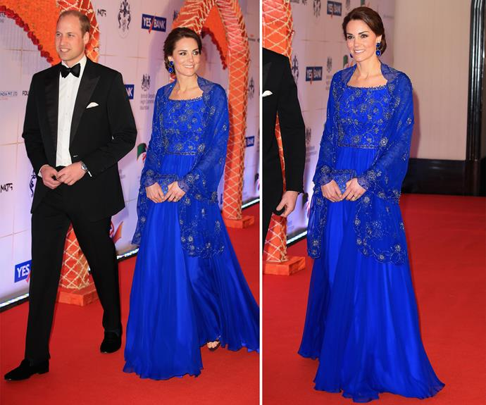 At a reception at the Taj Mahal Palace Hotel that evening, the Duke and Duchess mingled with Bollywood stars and other notable Mumbai figures. Kate looked as gorgeous as ever in her striking blue Jenny Packham gown.