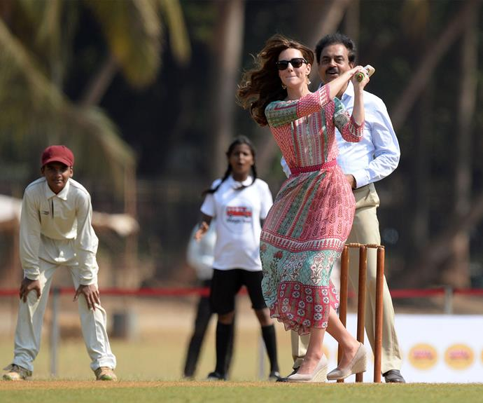 As part of their activities in Mumbai, the royals participated in a friendly cricket game at the Oval Maidan ground with local children.
