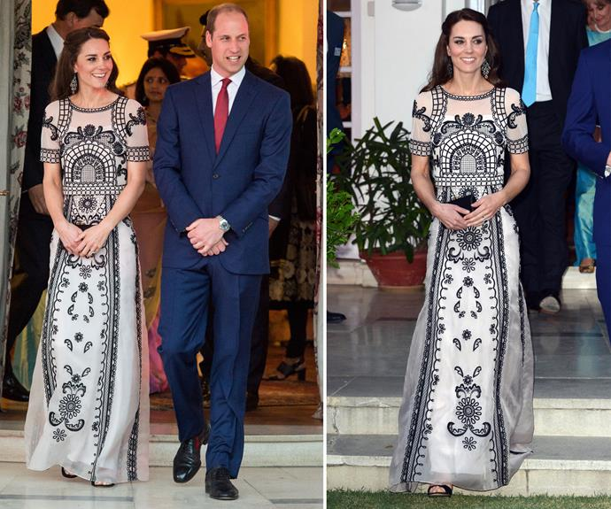 The fashionable royal chose a regal embroidered ensemble from London-based designer Alice Temperley for the occasion.