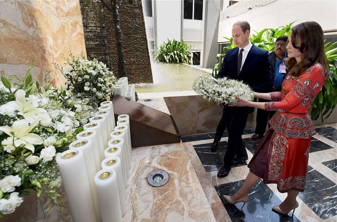 The Duke and Duchess of Cambridge lay a wreath at the memorial in the Taj Mahal Palace Hotel on day one of their tour of India.