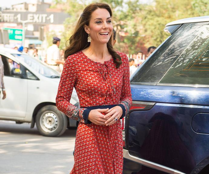 The Duchess of Cambridge looked lovely in a casual red dress.