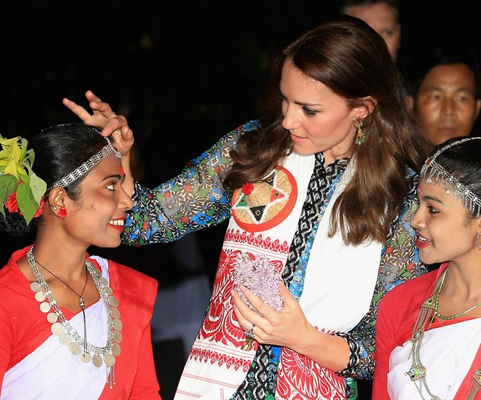 Kate in talks with some of the young girls.
