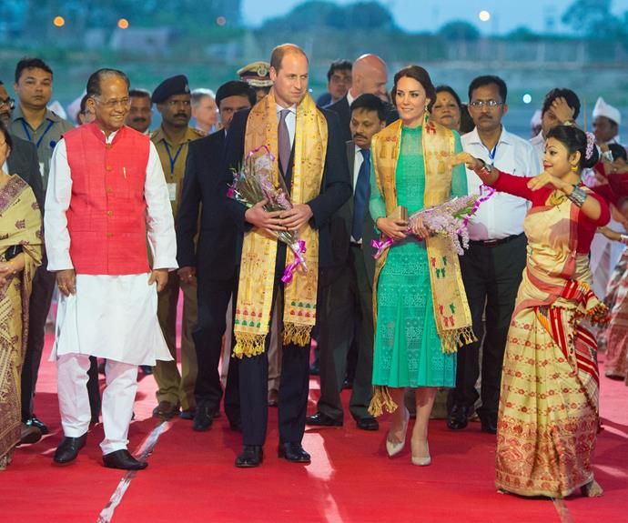 Prince William and the Duchess of Cambridge are given a warm greeting as they arrived at Tezpur Airport in Assam, India.