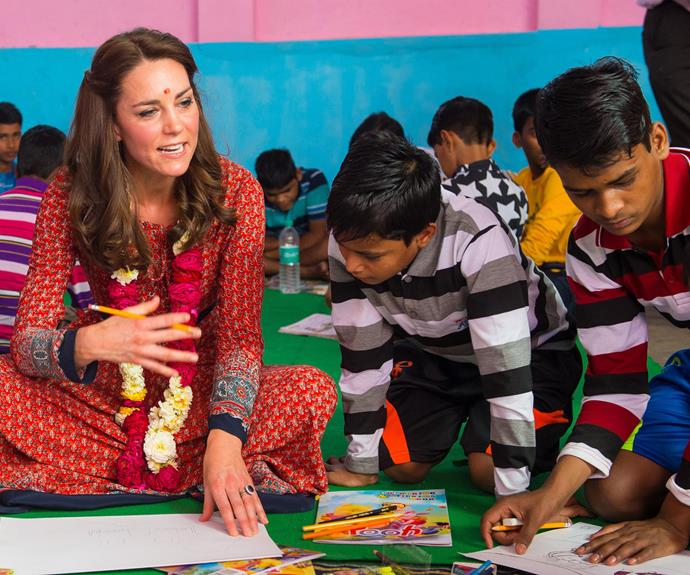 The Duchess of Cambridge drew pictures with some of the children at a homeless charity helping youngsters.