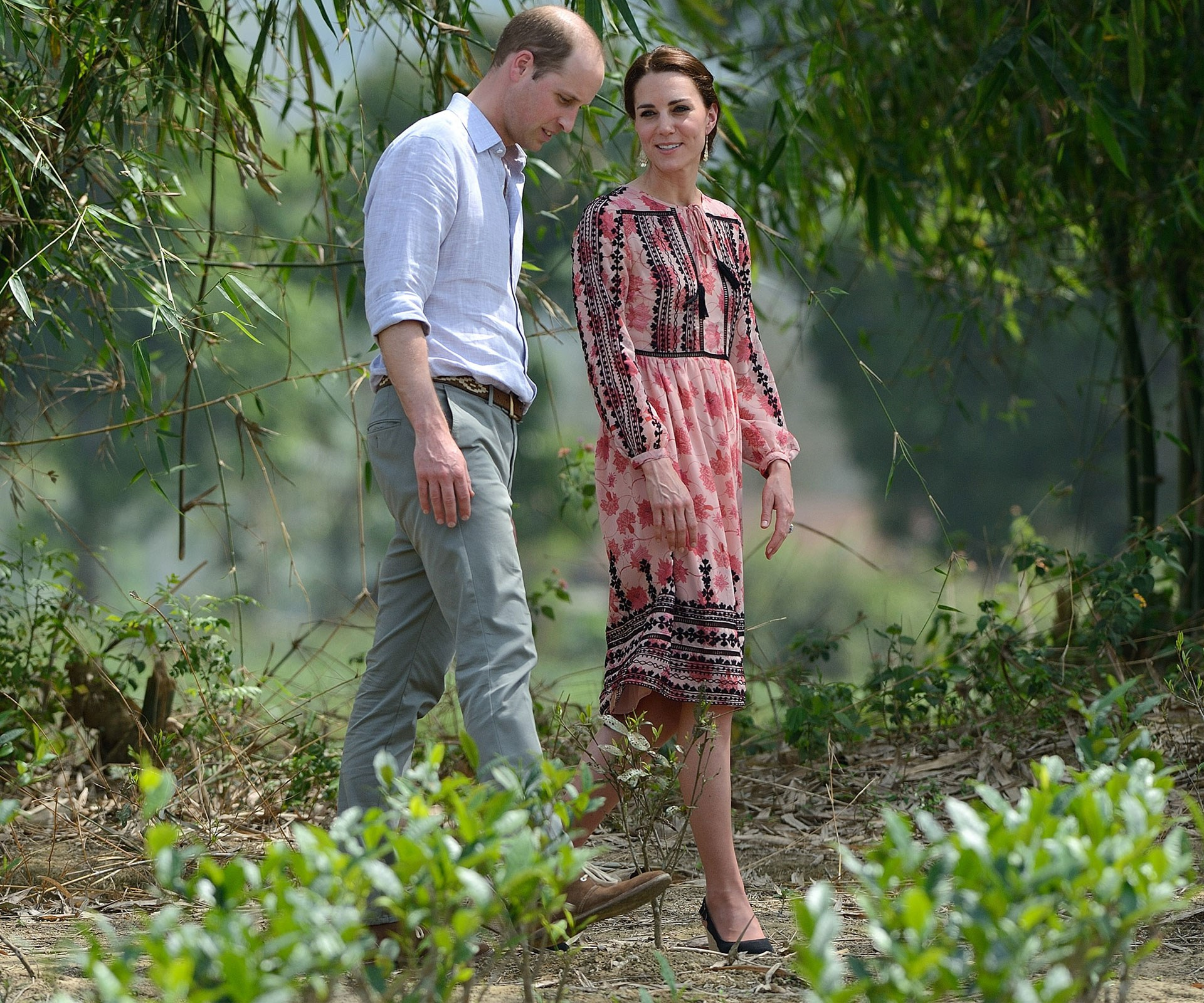 The Duke and Duchess take some time for a stroll together during a visit to the Kaziranga National Park in the Indian state of Assam.