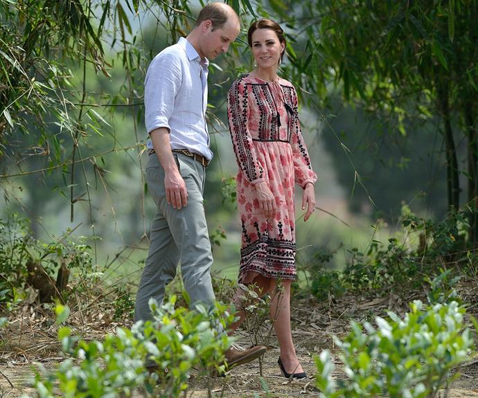 The Duke and Duchess took some time for a stroll.