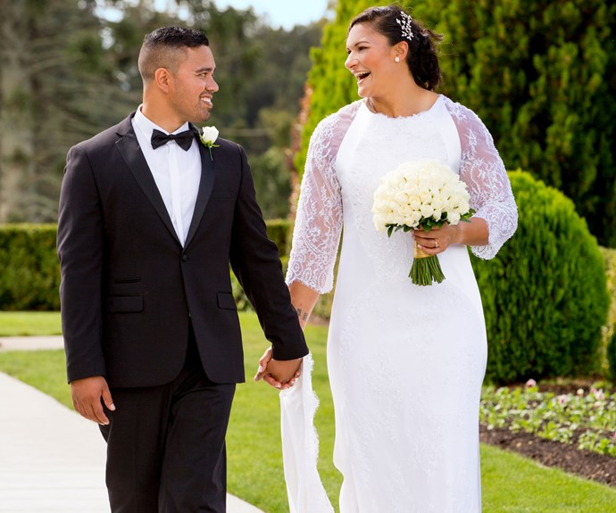 Valerie and Gabriel, both 31, wed in the Mormon church atop the hill in Hamilton's Temple View.