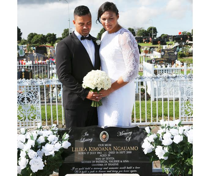The newlyweds share a poignant moment at the grave of Valerie's mum, who tragically died of cervical cancer in 2000.