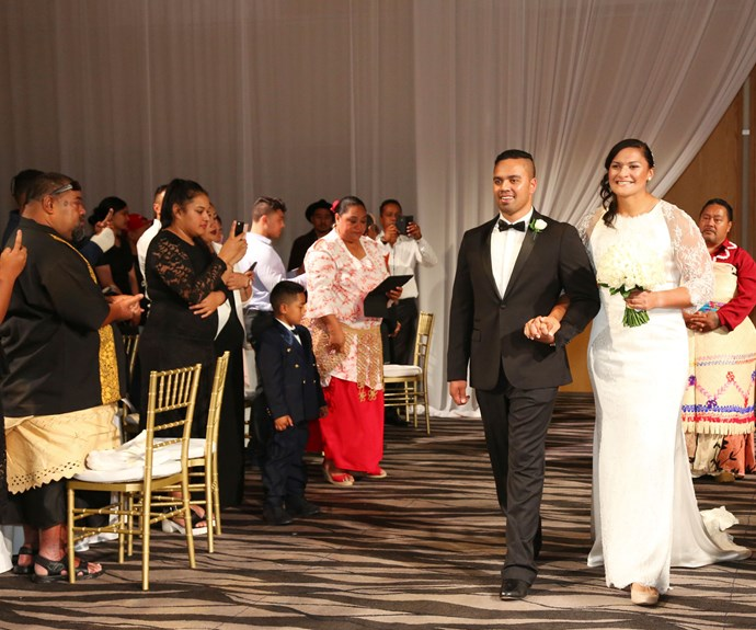 """The reception was held in SkyCity's Auckland room, where the couple entered the room to the strains of Diana Ross and Lionel Richie's """"Endless Love""""."""