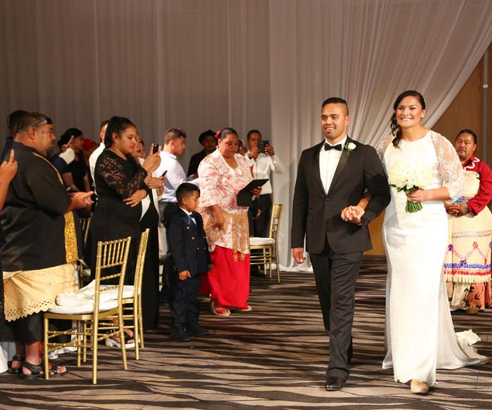 "The reception was held in SkyCity's Auckland room, where the couple entered the room to the strains of Diana Ross and Lionel Richie's ""Endless Love""."