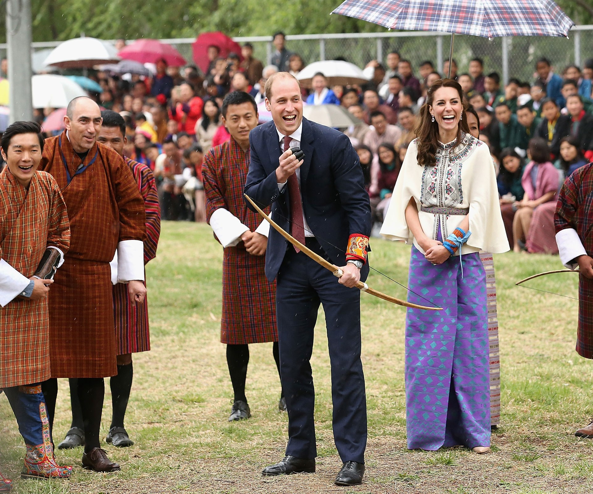 In Bhutan, the couple tried their hand at archery - with hilarious results!