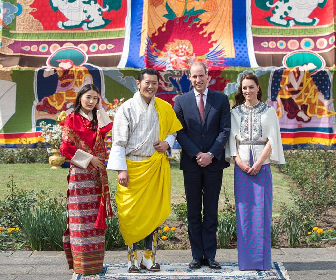 King Jigme Khesar Namgyel Wangchuck and Queen Jetsun Pema pose with the Duke and Duchess during a ceremonial welcome event in Thimphu.