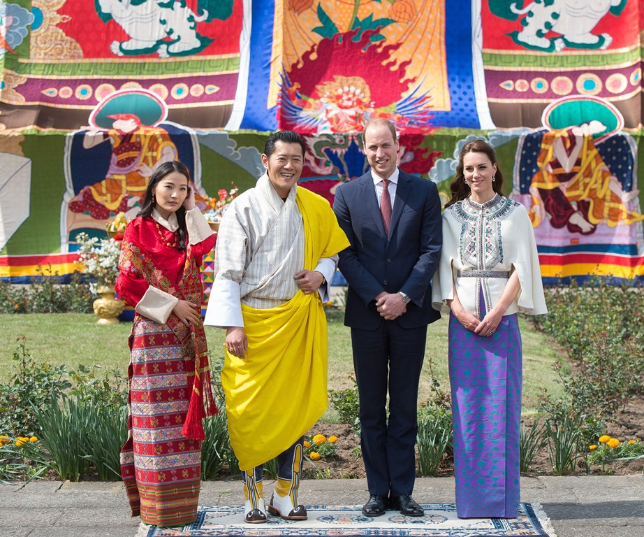 The Duke and Duchess with King Jigme Khesar Namgyel Wangchuck and Queen Jetsun Pema in Thimphu, Bhutan during a ceremonial welcome event. *(Image: Getty)*