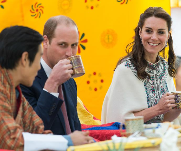 William and Kate have a drink inside the archery venue.