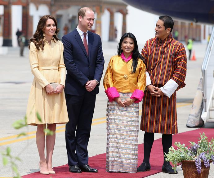 The royals were greeted by Princess Chimi Yangzom Wanchuck and Prince Dasho Ugyen Jigme Wangchuck at Bhutan's Paro airport.