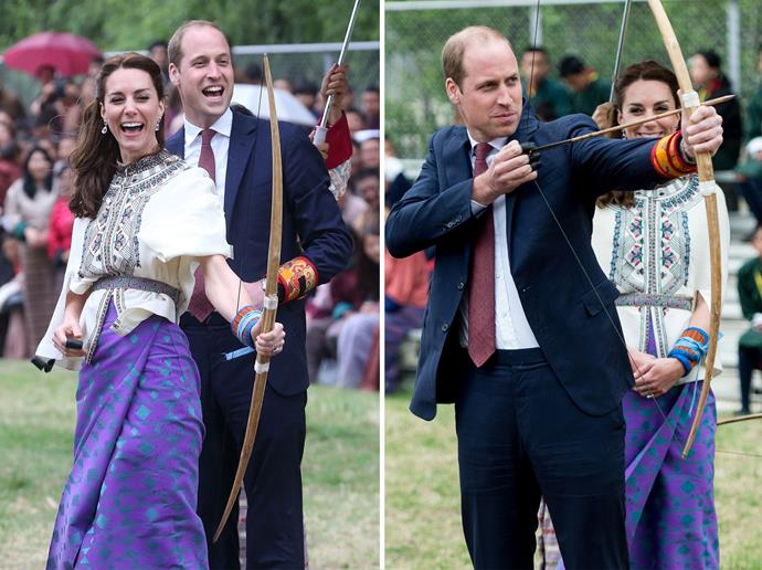 Kate and William try their hand at archery, Bhutan's national sport.
