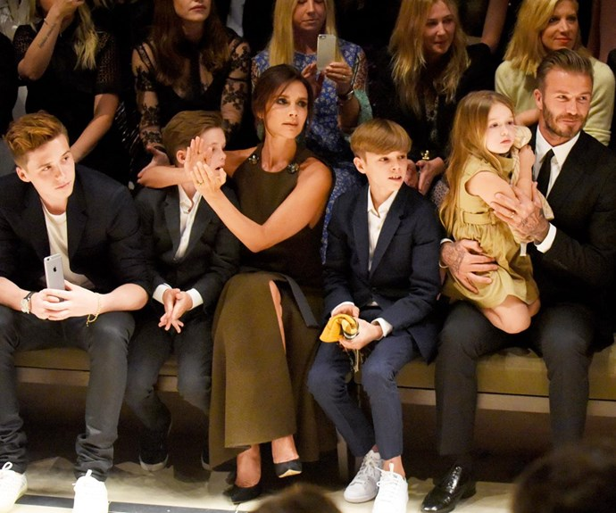 Talent runs in the family! [L-R] Brooklyn, Cruz, Victoria, Romeo, Harper and David Beckham sit front row at fashion show.