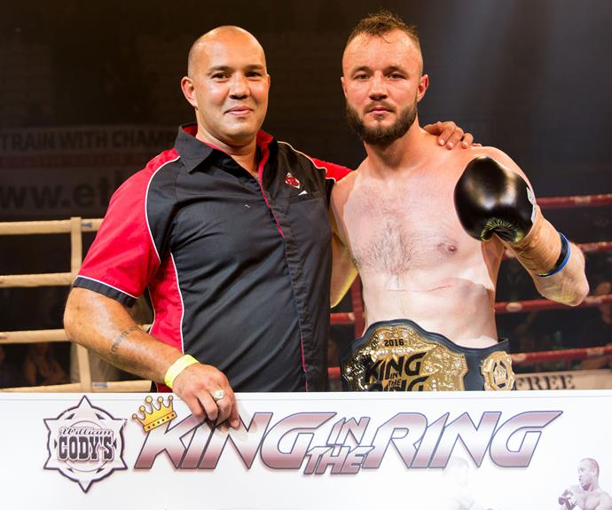 King in the Ring promoter Jason Suttie with winner Victor Mechkov. Photo: Carmen Bird